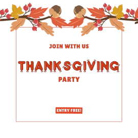 Online Editable Thanksgiving Party Facebook 3D Post