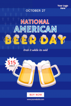 Online Editable National American Beer Day Pinterest Graphic