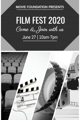 Online Editable Film Fest Invite Card Photo Collage Grid