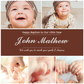 Online Editable Baby Boy Baptism Wishes Messages 5 Grid Photo Collage