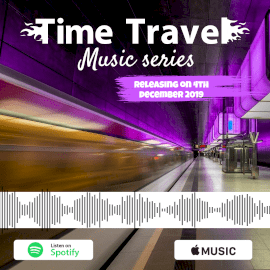 Online Editable Purple Time Travel Music Audiogram