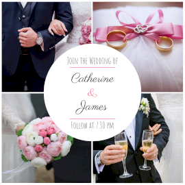 Online Editable Wedding Invitations 4 Grid Photo Collage