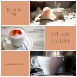 Online Editable Minimalist Hot Coffee Cafe 3 Grid Photo Collage