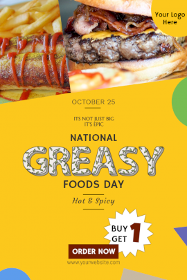 Online Editable National Greasy Food Day Pinterest Graphic