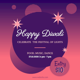 Online Editable Abstract Happy Diwali Celebration Party Instagram Post