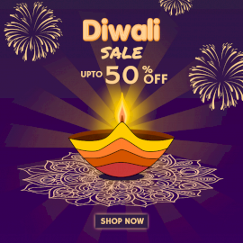 Online Editable Colorful Diya on Diwali Sale Offer Social Media Post