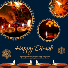 Online Editable Lighting Up Diya on Happy Diwali Social Media Post