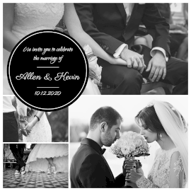 Online Editable Monochrome Wedding Photography 4 Grid Photo Collage