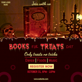 Online Editable Books for Treats Day Party Social Media Post