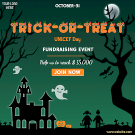 Online Editable Trick-or-Treat for UNICEF Day Fundraising Event Social Media Post
