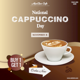 Online Editable National Cappuccino Day Offer Social Media Post