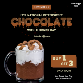 Online Editable National Bittersweet Chocolate with Almonds Day Offer Instagram Post