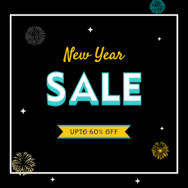 Online Editable New Year Sale Facebook 3D Post