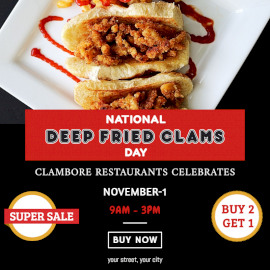 Online Editable Deep Fried Clam Day Food Offer Social Media Post