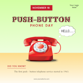 Online Editable Push Button Phone Day November 10 Social Media Post