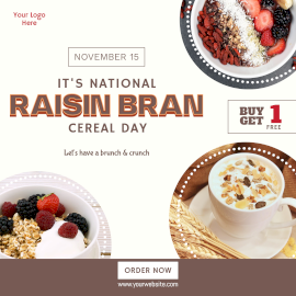 Online Editable National Raisin Bran Cereal Day Food Offer Instagram Post