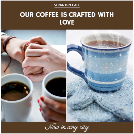 Online Editable Coffee Shop Quotes 2 Grid Photo Collage