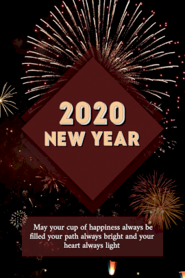 Online Editable New Year 2020 Pinterest Graphic