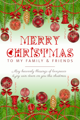 Online Editable Merry Christmas Wishes with Decorations Balls Pinterest Graphic