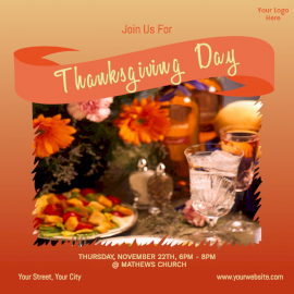 Online Editable Thanksgiving Dinner Invitation Social Media Post