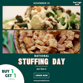 Online Editable National Stuffing Day Foodie Offer November 21 Instagram Post