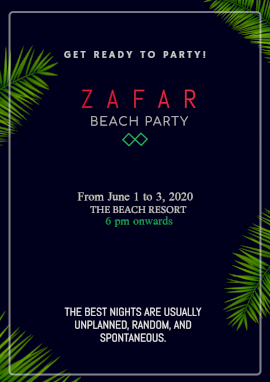 Online Editable Party at Beach Resort Flyer Marketing Materials