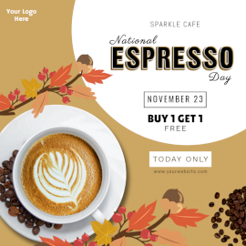 Online Editable National Espresso Day November 23 Social Media Post