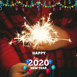 Online Editable Confetti Decoration Happy New Year 2020 Instagram Post