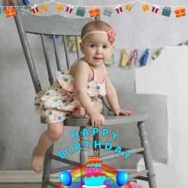 Online Editable Gift Box Garland Banner to Happy Birthday Little Princess Instagram Post