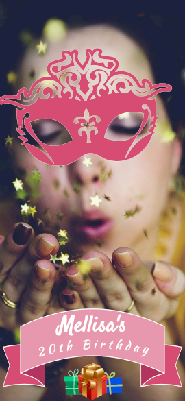 Online Editable Pink Masquerade Birthday Party Snapchat Geofilter