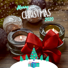 Online Editable Merry Christmas Wishes 2020 in Candle Light Instagram Post
