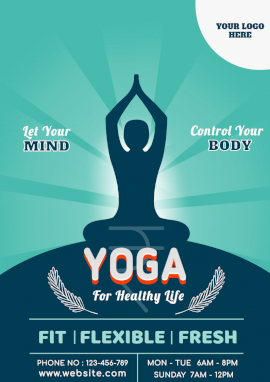 Online Editable Yoga Course Ad Design A4 Document