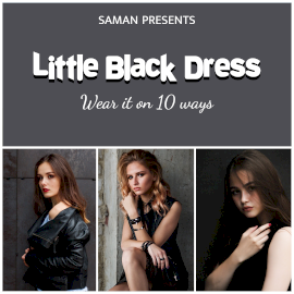 Online Editable Black Dress Collection 3 Grid Photo Collage