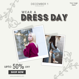 Online Editable Wear a Dress Day Sale Offer Ad Design Instagram Post