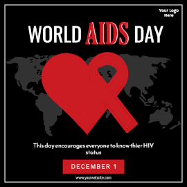 Online Editable World Aids Day December 1 Awareness Design With Red Ribbon on a Heart Instagram Post