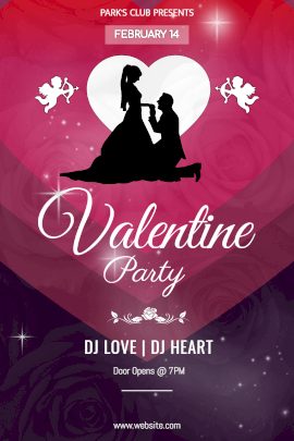 Online Editable Valentine Party Invitation With Couple Shadow Image Tumblr Graphic