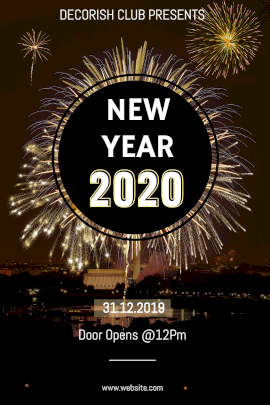Online Editable New Year Club Party with Crackers Design Tumblr Graphic