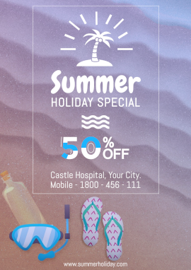 Online Editable Summer Holiday Deals Poster