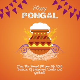 Online Editable Decorative Rangoli Pongal Celebration Design Social Media Post