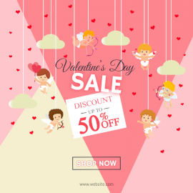 Online Editable Valentine's Day Discount Sale with Cupid Design Social Media Post
