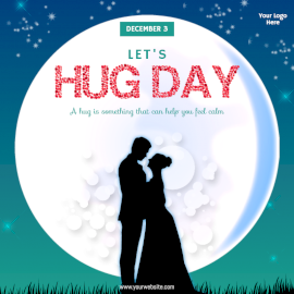 Online Editable Let's Hug Day Design with Couple Shadow Image Social Media Post