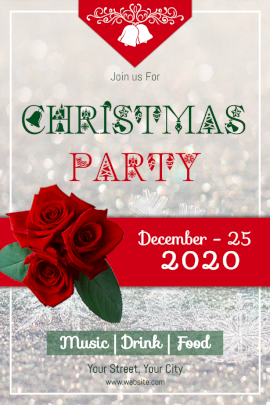 Online Editable Christmas Party Design With Red Roses Pinterest Graphic