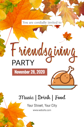 Online Editable Friendsgiving Party Invitation with Autumn Leaf Design Pinterest Graphic