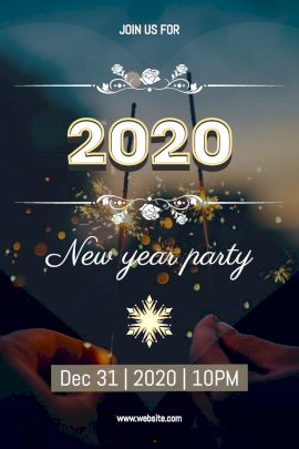 Online Editable New Year Party Design with Crackers Pinterest Graphic