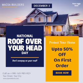 Online Editable National Roof Over your Head Day December 3 Social Media Post