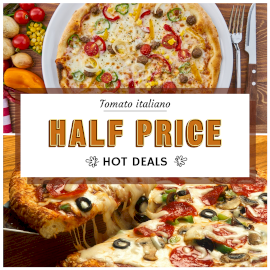Online Editable Get Offer for Italian Tomato Pizza 2 Grid Photo Collage