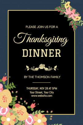 Online Editable Thanksgiving Dinner with Floral Illustration Pinterest Graphic