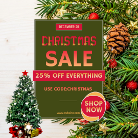 Online Editable Christmas Sale Discount on December 25 Instagram Post