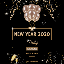 Online Editable Happy New year 2020 Party on December 31 Instagram Post