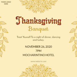 Online Editable Thanksgiving Food Invitation Design with Floral print Social Media Post
